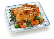 Roasted chicken. Oven roasted chicken with vegetables, on white background Royalty Free Stock Images