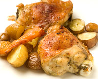 Roasted chicken. With assorted vegetables stock photos