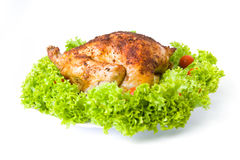 Roasted Chicken. Isolated over white background stock photos