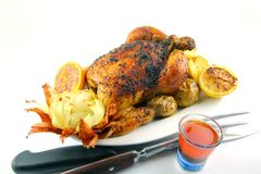 Roasted Chicken. Accompanied with baked whole onion ,grilled orange and lemon, roasted potatoes and Chicken Jus on White Back ground Stock Photo