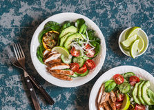 Roasted chicken, avocado and fresh vegetable salad. stock photo