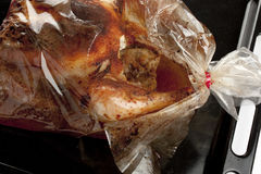 Roasted chicken in a bag Royalty Free Stock Photography