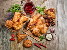 Roasted Chicken And Bakery Royalty Free Stock Photos