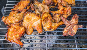 Roasted chicken on barbecue grills Royalty Free Stock Photography