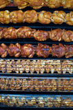 Roasted Chicken. Chicken being roasted at the local market royalty free stock image