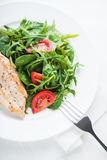 Roasted chicken breast and fresh salad with tomato and greens top view Royalty Free Stock Image