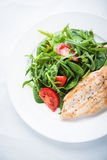 Roasted chicken breast and fresh salad with tomato and greens top view Stock Photography