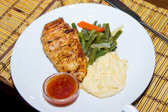 Roasted Chicken Breast with Mashed Potatoes Stock Photo