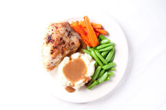 Roasted chicken breast with mashed potatoes Stock Photos