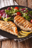 Roasted Chicken breast with mix salad of chicory, tomatoes and l Royalty Free Stock Photography