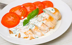 Roasted chicken breast with sauce Stock Images