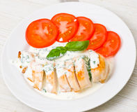 Roasted chicken breast with sauce Royalty Free Stock Images