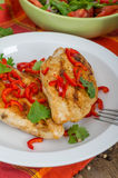 Roasted chicken with chili. Roasted chicken breast with chili Royalty Free Stock Photography