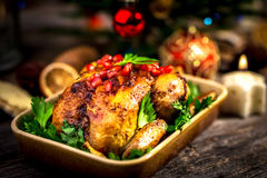Roasted chicken. For Christmas lunch royalty free stock photo
