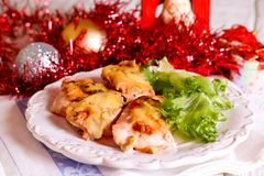 Roasted chicken for Christmas lunch Stock Photos
