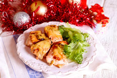 Roasted chicken for Christmas lunch Stock Photography