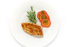 Roasted Chicken (diet salad). Roasted part of chicken, rosemary, tomato salad with green onion. Isolated Stock Images