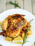 Roasted chicken with dill,sweet lime and potatoes Royalty Free Stock Image