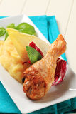 Roasted chicken drumstick and mashed potato Stock Photography