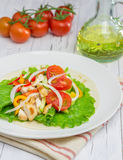 Roasted chicken fillet on wheat tortilla with fresh vegetables. Roasted chicken fillet on wheat tortilla with salad of fresh vegetables Royalty Free Stock Photo