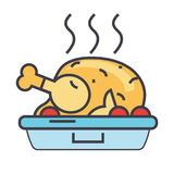 Roasted chicken, fried hen, party food concept. Line vector icon. Editable stroke. Flat linear illustration isolated on white background Royalty Free Stock Image