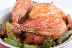 Roasted chicken with green beans Royalty Free Stock Photos