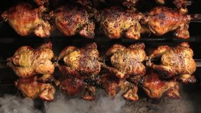 Roasted chicken grilled on fire, barbeque. In South America called pollo a la brasa. stock video footage