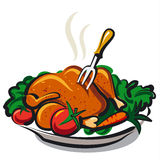 Roasted chicken. Illustration of the roasted chicken Stock Photography