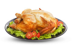 Roasted chicken isolated on white background Stock Images