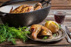 Roasted chicken and jacket potato with dill Royalty Free Stock Images