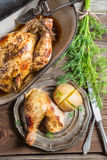 Roasted chicken and jacket potato with dill Royalty Free Stock Photo