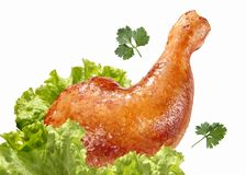 Roasted chicken lag with lettuce isolated Royalty Free Stock Photos