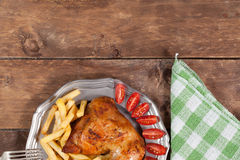 Roasted chicken leg. Royalty Free Stock Image