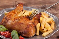Roasted chicken leg. Stock Image