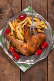 Roasted chicken leg. Royalty Free Stock Photos