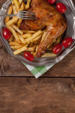 Roasted chicken leg. Royalty Free Stock Images