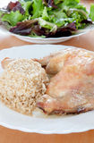 Roasted chicken leg with rice Stock Image