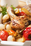 Roasted chicken leg with vegetables Stock Photo