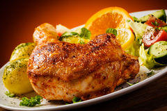 Roasted chicken leg Royalty Free Stock Images