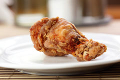 Roasted chicken leg on white  dish Stock Photography