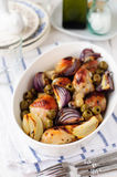 Roasted Chicken Legs (Drumsticks) with Onions and Green Oives Royalty Free Stock Photos