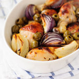 Roasted Chicken Legs (Drumsticks) with Onions and Green Olives Royalty Free Stock Photography