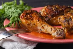 Roasted chicken legs with french mustard Royalty Free Stock Image