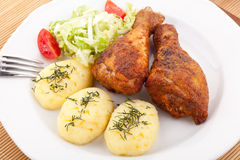 Roasted chicken legs with mashed potatoes Royalty Free Stock Photo