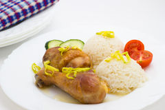 Roast chicken with rice Royalty Free Stock Photos