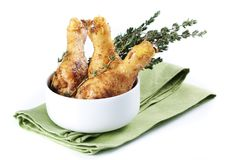 Roasted chicken legs with thyme Royalty Free Stock Photo