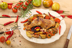 Roasted chicken legs with vegetables and herbs Stock Photography