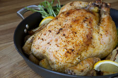 Roasted chicken lemon in a pan royalty free stock images
