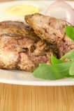 Roasted chicken liver with vegetables Stock Photo