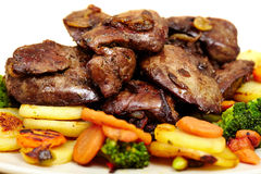 Roasted chicken liver with veggies Royalty Free Stock Image